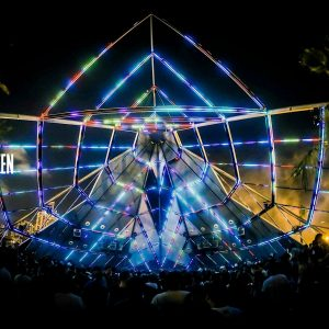 "The Gärten, outdoor club in Lebanon, using MADRIX for LED Pixel Mapping of the full ""temple"" skeleton"